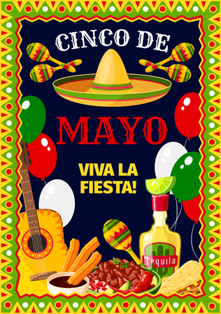 Cinco de Mayo Mexican holiday fiesta celebration greeting card of traditional fiesta symbols jalapeno pepper, tequila and sombrero. Vector design of Mexican flag balloons, guitar and food or pastry