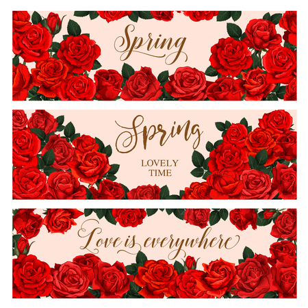 Red rose flower frame for Spring Season greeting banner. Floral wreath of blooming rose plant with green leaf, flower bud and branch festive card for Springtime holidays celebration design