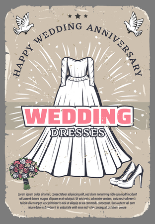 Happy wedding anniversary greeting card template. White bride dress with wedding bouquet, shoes and dove vintage banner, decorated by star for celebration party retro invitation design Standard-Bild - 108886020