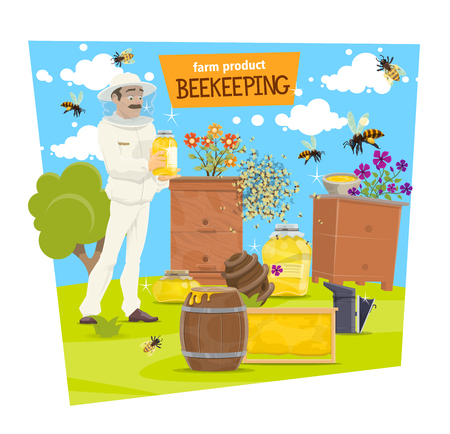 Beekeeping farm, beekeeper near honeycomb on apiary. Mustached apiarist in protective uniform and hat holding honey in jar and bee around flowers and barrels, apiculture farm. Organic honey vector