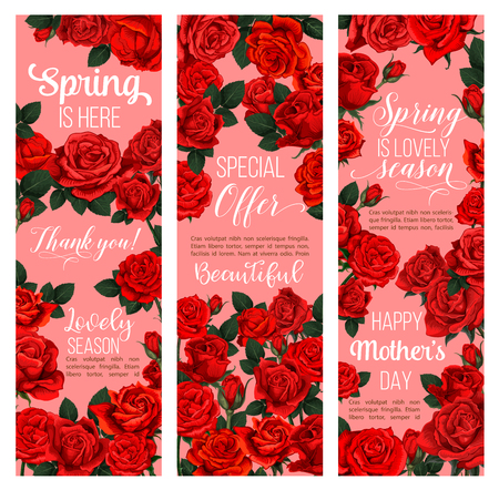 Rose flower festive banner for Spring Season holiday celebration. Red floral bouquet of blooming rose plant and green leaf for Mother Day greeting card or Springtime sale special offer flyer design