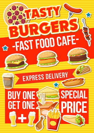 Fast food menu, vector. Hot dog and cheeseburger, hamburger and pizza, french fries snack and Chinese noodles in box. Sandwiches and tacos, barbecue and doner, beer and coffee, chicken drumstick
