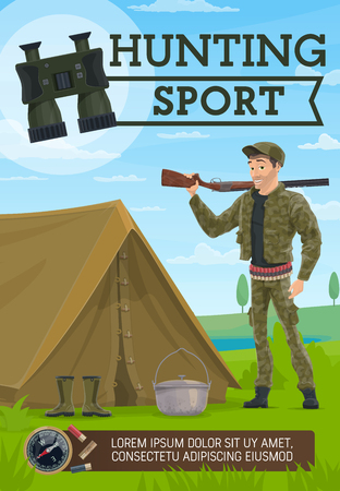 Hunting sport, hunter and camping. Hunter with rifle, tent and rubber boots, kettle and pair of binoculars, grass meadow with lake or river, compass and bullets. Hunting sport vector