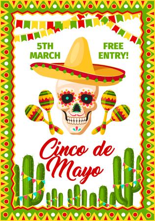 Cinco de Mayo墨西哥假日墨西哥传统党庆祝的邀请卡邀请卡。导航墨西哥阔边帽海报在头骨和maracas,在仙人掌的旗子cinco de mayo党的