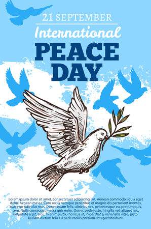 Peace day poster with white holy dove, international holiday. Pigeon in sky among clouds, flying bird with spread broad wings and symbolic olive branch in beak. Vector illustration Stock Vector - 108886023