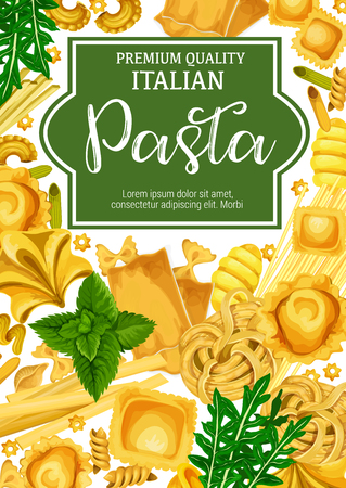Italian pasta. Cuisine from Italy macaroni, lasagna or spaghetti and fettuccine, ravioli or pappardelle and farfalle or tagliatelle with arugula and mint leaves. Vector design Illustration