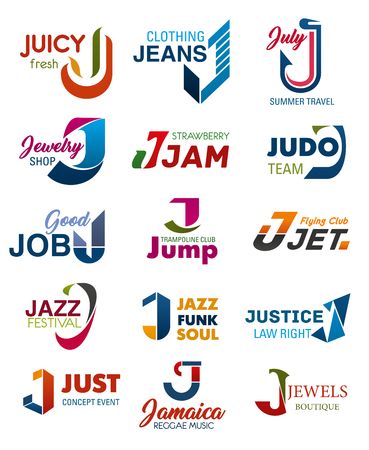 J letter business identity icons and symbols. Juicy and jeans, july and jewelry, jam and judo, job and jump, jet and jazz, justice and just, Jamaica and jewels signs