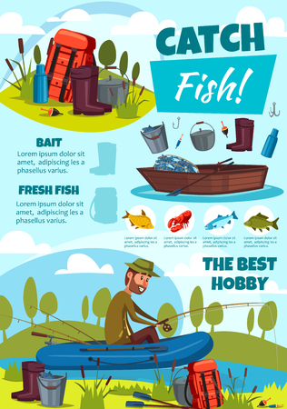 Fishing sport, fish catch and fisherman in boat. Camp near river bank, man with fishing rod and backpack, rubber boots and crayfish, carp and trout. Vector poster of outdoor fishery activity