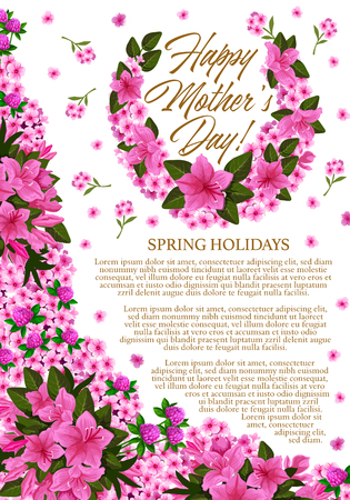 Mother Day greeting banner with spring flower decoration. Springtime holiday festive card, adorned by floral wreath of clover, phlox and azalea flower, green leaf branch and blooming garden plant