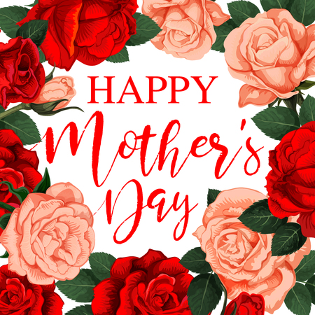 Vector banner Happy Mother s day. Greeting card with red roses for holiday. Image with roses frame for greeting card on Mother s day. Circle of red roses vector image isolated on white