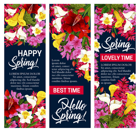 Hello Spring floral banner for Springtime season holiday. White, pink and yellow flower of daffodil, tulip and azalea, iris, calla lily and freesia with green leaf and blooming garden plant branch