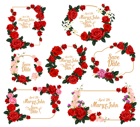 Wedding invitation flower frame for Save the Date template. Floral border of red and pink rose, jasmine, clover and orchid flower with copy space in center for wedding ceremony greeting card design