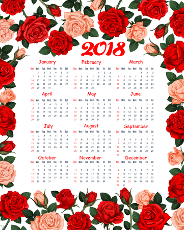 2018 calendar of roses or red spring flowers. Vector floral design of blooming garden roses and flourish blossoms of springtime or summertime for flowery 2018 monthly calendar