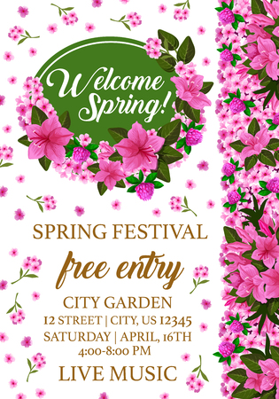 Spring holiday poster with floral frame for Springtime festival invitation template. Pink flower of clover, phlox and azalea blossom with green leaf and branch flyer, edged by blooming garden plant Illustration