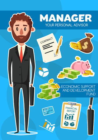 Manager profession, advisor man in suit and tie with briefcase, vector. Financial documents with pen and sack of gold, money box and banknotes, diagram and chart, credit card, notepad and report