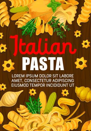 Pasta italiana, cucina italiana o menu del ristorante. Vector spaghetti e maccheroni, farfalle o pappardelle e lasagne, ravioli, fettuccine e tagliatelle con rucola e erbe aromatiche alla menta. Disegno vettoriale