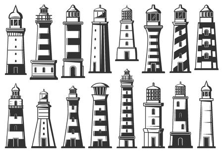 Faro di mare e fari marini icone vettoriali. Navigazione nautica con torri a strisce per navi e imbarcazioni. Edifici alti fari con segnale luminoso in alto, vettore monocromatico Vettoriali