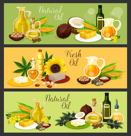 Natural oil banner set with fresh plant seed, fruit, flower and leaf ingredient. Olive, sunflower and corn, coconut, colza and peanut, flax seed and hemp oil bottle and jug poster for food design