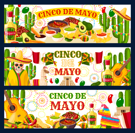 Cinco de Mayo Mexican holiday fiesta celebration greeting banners of traditional food and Mexico symbols. Vector Mexican flag, tequila or cactus and tacos in avocado guacamole or jalapeno pepper