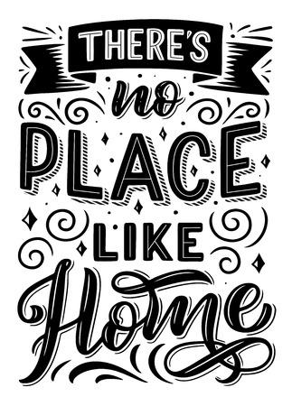 Non c'è posto come la citazione di casa, il design del carattere e il nastro, i turbinii e i riccioli con le stelle. Vettore monocromatico di frase di citazione. Espressione o frase in lettere maiuscole con decorazioni Vettoriali