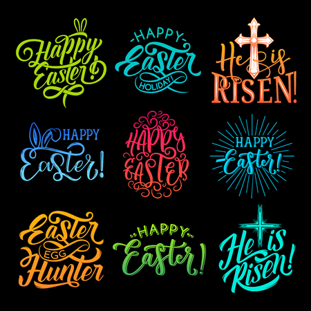 Happy Easter lettering label set. Lettering, calligraphy vector isolated on black background. Set of hand drawn lettering Happy Easter and He is risen vector graphics. Happy Easter typography
