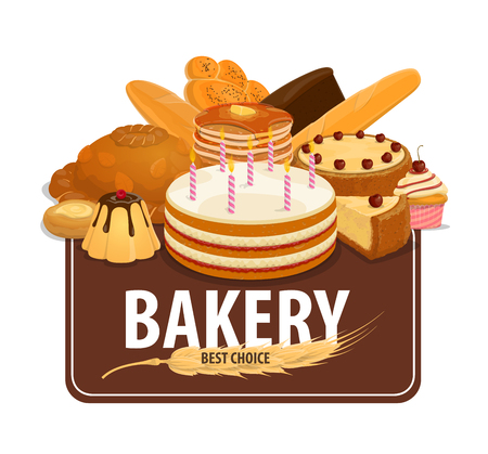 Bakery shop poster with bread, sweets and pastry. Rye and white loaves, croissant and baguette, pancakes with caramel, cake with candles and cupcake. Cheesecake and bagel with wheat spike, vector