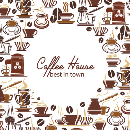 Coffee drink and beverage frame for coffee shop poster or cafe menu cover template. Coffee machine and pot with cup of espresso, cappuccino and latte, mug of hot chocolate, bean, sugar and steam swirl
