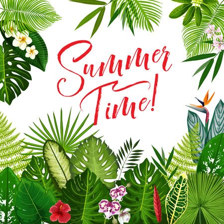 Summer Time Season poster with tropical flower and exotic palm leaf. Summer holidays and tropical beach vacation banner with jungle floral frame of palm foliage, orchid, hibiscus and plumeria flower