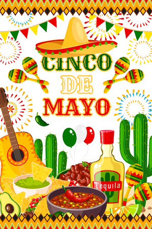 Cinco de Mayo fiesta celebration poster design of tequila, jalapeno pepper or cactus and guitar. Vector sombrero and traditional food burrito and guacamole avocado for Cinco de Mayo Mexican holiday