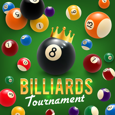Billiards game tournament, vector. Billiard balls in gold crown on green table, sport hobby. Snooker game tourney announcement for billiards team championship or competition, league and club