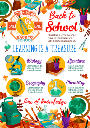 Back to School seasonal sale poster for school bag or lesson study stationery. Vector September discount promo offer for book or notebook and mathematics calculator, ggeography lobe or pen and pencil
