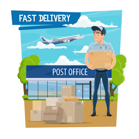 Post mail fast delivery poster for postage logistics. Postman or mailman in uniform delivering letters envelopes and parcels, air transportation by plane and postal office building vector isolated