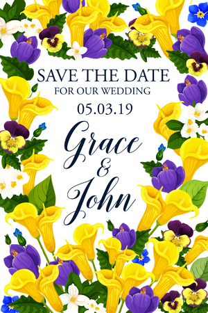 Save the Date flowers design for wedding greeting card or engagement party invitation. Vector blooming yellow callas and blue crocuses and orchid floral blossoms frame Иллюстрация