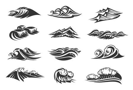 Wellen von Ozeanwasserliniensymbolen setzen von Gezeitenspritzern. Vektor isolierte Gezeitenstürme, Meereswellen oder stürmische Gezeiten mit spritzenden Flüssen und Surfen von windigen Sturmströmen