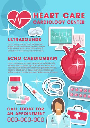 Poster medico per la cura del cuore e il centro cardiologico. Disegno vettoriale di medico cardiologo con stetoscopio, farmaci pillola e trattamenti farmaceutici per cardiogramma e ultrasuoni Logo