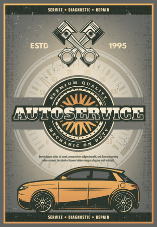 Auto service or car repair station vintage poster. Vector retro design of engine motor and tire wheel for car mechanic or premium quality automobile diagnostic center and spare parts shop