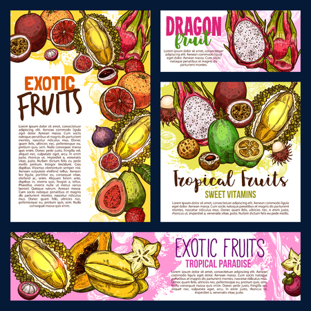 Exotic fruits sketch banners and posters of durian, papaya. Vector harvest of tropical pitaya dragon fruit or passion fruit maracuja and kiwi with banana