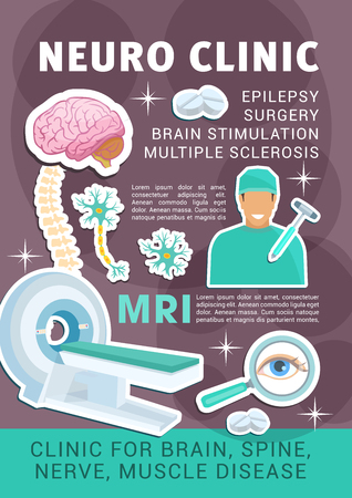 Neuro clinic poster of neurology medicine for surgery, epilepsy and sclerosis. vector design of brain tomography or MRI scanner, spine joints nerves and muscle neural cells with treatment pills Illustration