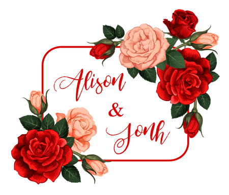 Rose flower frame for wedding or engagement greeting or party invitation card. Vector design of red blooming flourish blossoms with Save the Date for bride and bride groom names