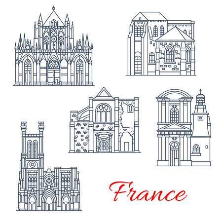 France architecture landmarks and famous historic buildings thin line icons. Vector facades of If Saint Pantaleon or Pierre and Paul cathedral, Madeleine church or St Jean and Marche in Provence