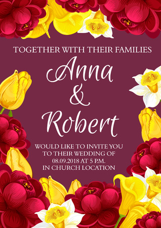Wedding ceremony and party invitation card with flowers. Vector design of red blooming hibiscus roses or peony, yellow callas and daffodils flourish blossoms