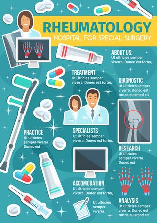 Rheumatology medicine or rheumatologist doctor clinic poster. Vector medical design of joint and bones X-ray, arthritis and trauma crutches, osteoporosis disease diagnostics, nurse and treatment pills