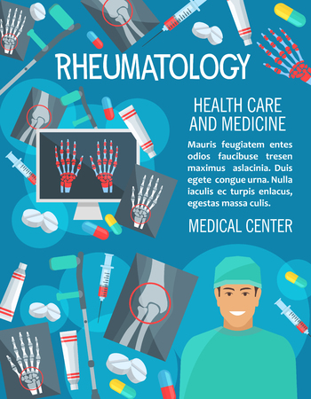Rheumatology medical clinic poster. Vector design of rheumatologist doctor, joint and bones on X-ray for arthritis disease or trauma diagnostics, crutches or syringe and treatment pills Stock Illustratie