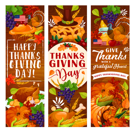 Thanksgiving Day greeting banner for autumn harvest holiday celebration. November pumpkin, roasted turkey and yellow leaf, cornucopia, apple pie and pilgrim hat festive card on wooden background Stock Illustratie