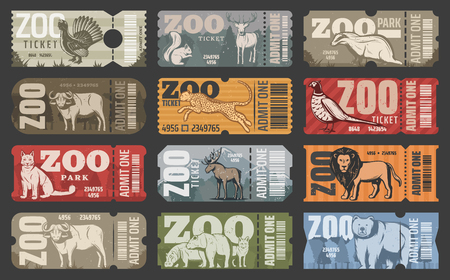 Zoo tickets for zoological park admit with wild animals. Vector vintage design of African lion, hippopotamus or panther and bear, elk or buffalo with wolf or fox and squirrel