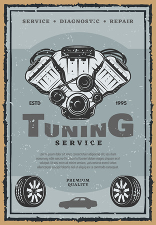 Car auto tuning service or retro poster. Vector vintage design of car tires with light alloy wheels and engine motor with vales for automobile spare parts shop or mechanic garage repair