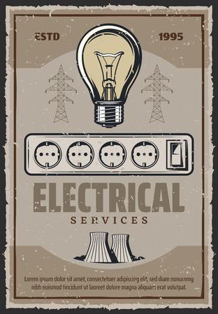 Cartel retro de servicio eléctrico de bombilla y planta de energía. Diseño vintage de la industria de la energía y la electricidad de vector de enchufe o enchufe y conmutador de luz eléctrica