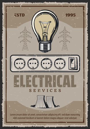 Electrical service retro poster of light bulb and power plant. Vector energy and electricity industry vintage design of plug or socket and electric light switcher