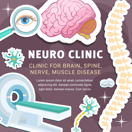 Neuro clinic or neurology medicine poster for brain, spine or nerves and muscle diseases. Vector design of tomography or MRI scanner, neural cells, eyes and joint bones with treatment pills