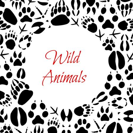 Poster di impronte di animali e uccelli per zoo o design di caccia. Tracce di zampe vettoriali di orso selvatico, volpe o lupo e lepre, cinghiale o alce e impronte di zoccoli di cervo o artigli di corvo e passero